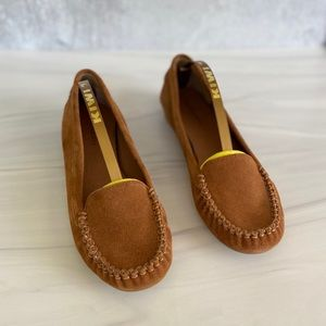 SOLE SOCIETY Brown Leather Trixie Suede Moccasins